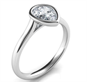 Picture of Delicate Low Profile bezel engagement ring for Pear shapes-Alicia