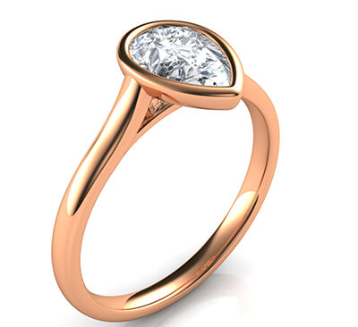 Delicate Low Profile bezel engagement ring for Pear shapes-Alicia
