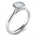 Picture of Delicate Low Profile bezel engagement ring for Cushions-Julia