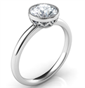 Picture of Delicate Low Profile decorated bezel engagement ring for rounds- Whitney