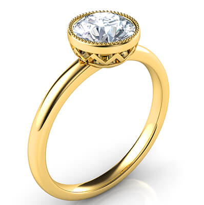 Delicate Low Profile decorated bezel engagement ring for rounds- Whitney