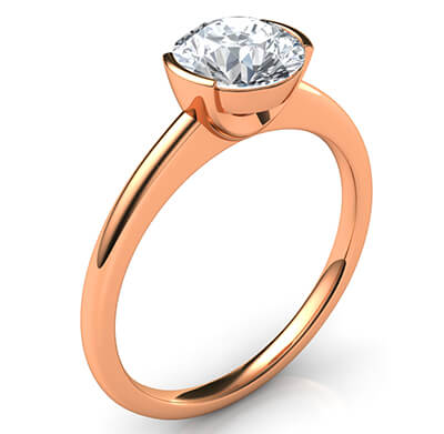 Low profile half bezel delicate engagement ring-Miranda