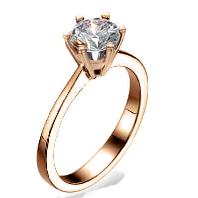 Rose Gold New  Martini prongs head diamond engagement ring