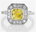 Picture of Pippa Middleton Engagement ring with 1 carat Canary yellow Cushion SI1