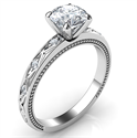 Picture of Leaf motif vintage style engagement ring with side diamonds