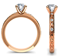 Picture of Kimberly-Rose Gold leaf motif vintage style engagement ring with side diamonds
