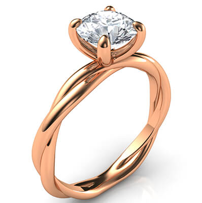 Crystal, the rope Rose Gold solitaire engagement ring for all shapes