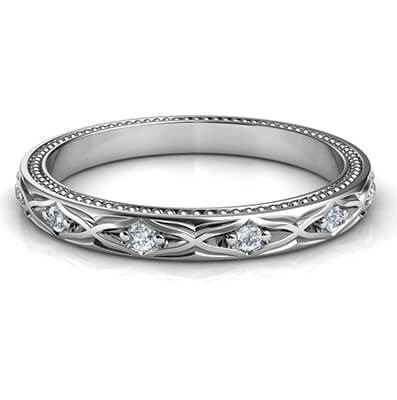 Kimberly-Leaf motif vintage style wedding band