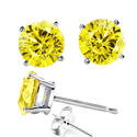 Picture of 1.80 carats Canary fancy yellow natural diamond earrings, round natural diamonds