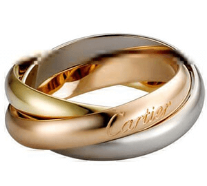 Rose gold white gold and yellow gold Cartier trio wedding bands
