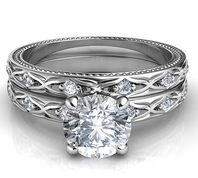 Kimberly-Leaf motif vintage bridal set with side diamonds 0.18 carat