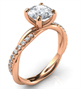 Picture of Crystal- Rose gold rope engagement ring with side diamonds, for all shapes