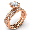 Picture of Rose gold rope bridal set with dismonds, for all diamonds shapes and sizes