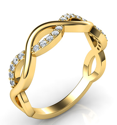Infinity wedding band with 0.20 carat accent diamonds