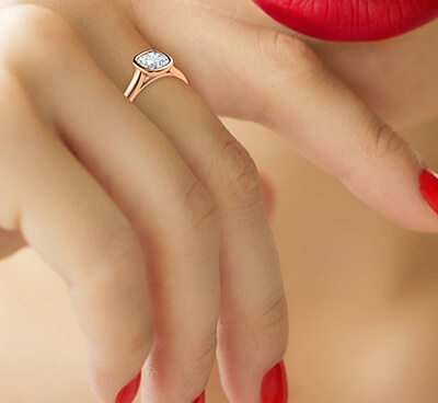Delicate Low Profile bezel engagement ring for Cushions-Julia