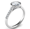 Picture of Delicate Low Profile bezel set engagement ring for Rounds with side diamonds-Amy