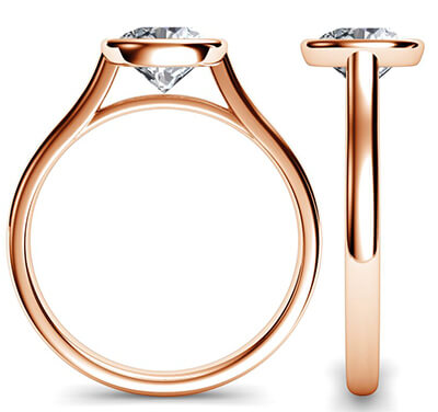 Rose Gold Delicate Low Profile bezel engagement ring-Anna