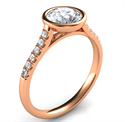 Picture of Rose Gold Delicate Low Profile bezel set engagement ring for Rounds, with side diamonds-Pamela