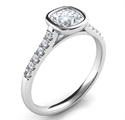 Picture of Delicate Low Profile bezel set engagement ring for Cushions with side diamonds-Amanda