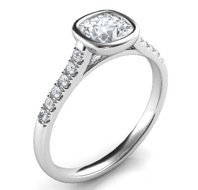 Delicate Low Profile bezel set engagement ring for Cushions with side diamonds-Amanda