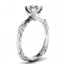 Picture of  Solitaire Leaf motif  engagement ring-Nancy