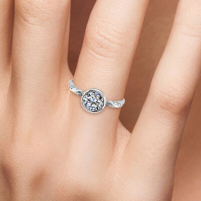 Solitaire Leaf motif low profile bezel set engagement ring-Shirley