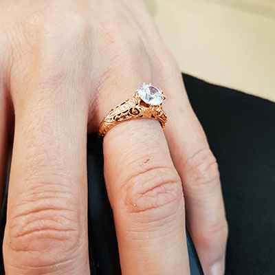 Rose Gold Vintage engagement ring replica hand engraved