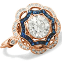 Picture of Rose Gold Art Deco ring Halo diamond engagement ring
