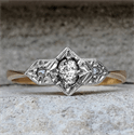 Picture of Genuine Art Deco trilogy Engagement ring set with natural center diamond 0.10 carat