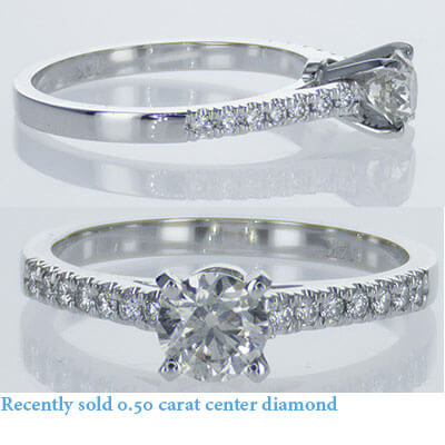 Solid delicate engagement ring