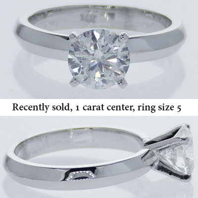 3mm Knife Edge solid Solitaire Engagement ring