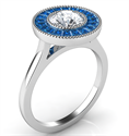 Picture of Natural Sapphires halo engagement ring