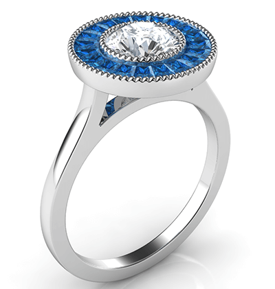 Natural Sapphires halo engagement ring