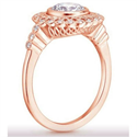 Picture of Rose Gold Art deco Halo Engagement ring