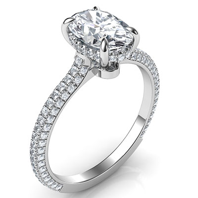 Oval hidden halo engagement ring