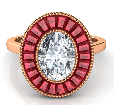 Natural Rubies, Oval halo engagement ring