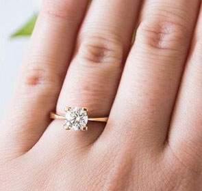 Delicate Rose Gold solitaire engagement ring-Patricia