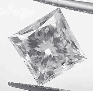 Picture of 0.97 carat,Princess diamond, D color, VS2 clarity enhanced, certified by CGL