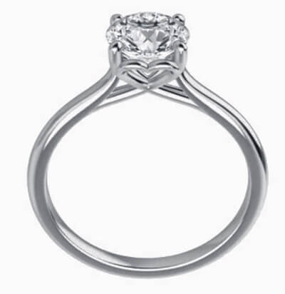 Romantic solitaire engagement ring for all shapres and sizes