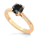 Picture of Solitaire engagement ring with 1 carat black diamond
