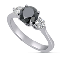 Picture of Black natural diamond engagement ring with 1 carat black diamond and two 0.125 sides