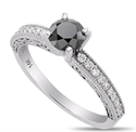 Picture of Black natural diamond engagement ring with 1 carat black diamond and  side diamonds
