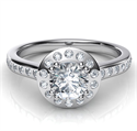Picture of Contemporary Halo engagement ring with flush setting side diamonds