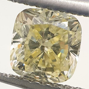 Picture of 0.72 Carats, Cushion Diamond with Very Good Cut, Natural Fancy Yellow Color, VS2 Clarity Enhanced