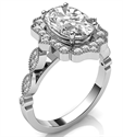 Picture of Oval vintage style Halo ring engagement ring