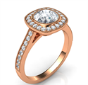 Picture of Rose Gold Low profile Cushion bezel with diamonds halo 1/3 carat side diamonds and fully millgrained