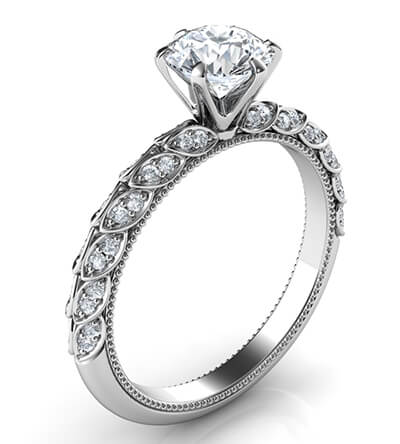 Engagement ring with leaves set with diamonds, Vintage style