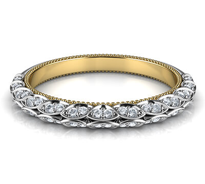 Matching wedding band with leaves set with diamonds