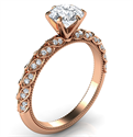 Picture of Rose Gold Engagement ring with leaves set with diamonds, Vintage style