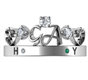 Picture of Initials crown Tiara anniversary band with 0.19 carat sides